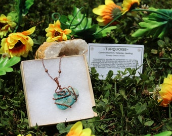 Turquoise Wire Wrap Pendant With Copper Chain, Turquoise Pendant, Turquoise Necklace, Wire Wrap Turquoise Necklace, Crystal Jewelry