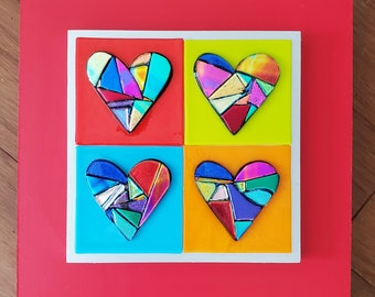 Red Gold colored fused dichroic glass  heart on off white glass and red frame  wall art  by Gary Levin Glass