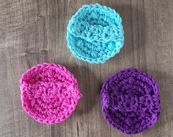 Set of 3 Reusable Makeup Remover Pad, Teen Girl Stocking Stuffers, Cotton Face Scrubbies, teen girl party favors, Eco Friendly Gifts for Her
