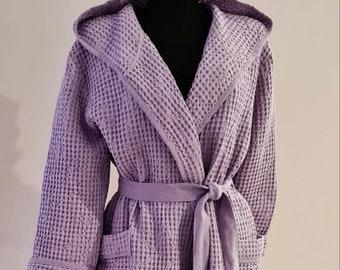 Sauna kimono wrapper Women bath wrap Linen Dressing gown Long Linen Robe Pink bridesmaid Linen Bath Robe -Valentines Day Kimono Robe