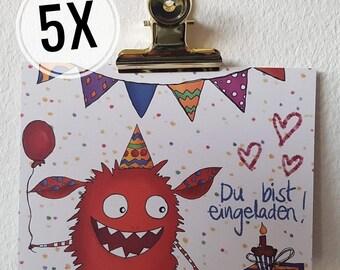 Set of 5 Invitation Children's Birthday Monster | Invitation card | Birthday Birthday Invitation Children | Monster Party 5 Stk Girls Boys