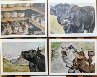 Note card set: Alpine dairy watercolor series