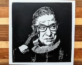 Ruth Bader Ginsburg Linocut Block Print