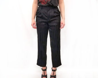 1980s Vintage high waisted pinstriped navy trousers size 10