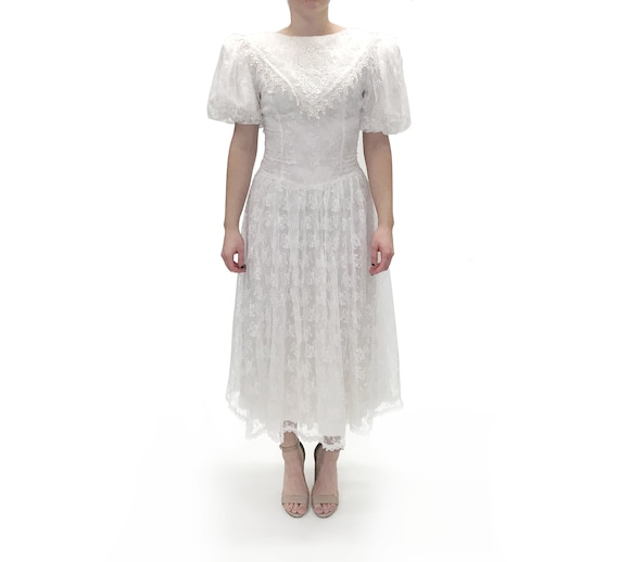 Gunne Sax 1980s White Lace Dress with low back and