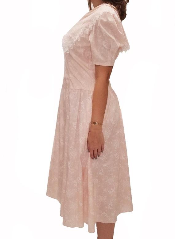 Vintage 1980s Gunne Sax Pale Pink Midi Dress with… - image 2