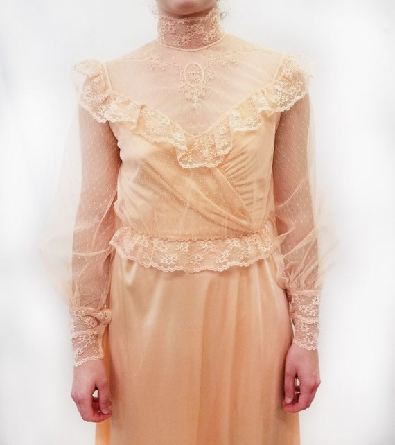 Vintage 1970s Peach Maxi Slip Dress with Sheer La… - image 6