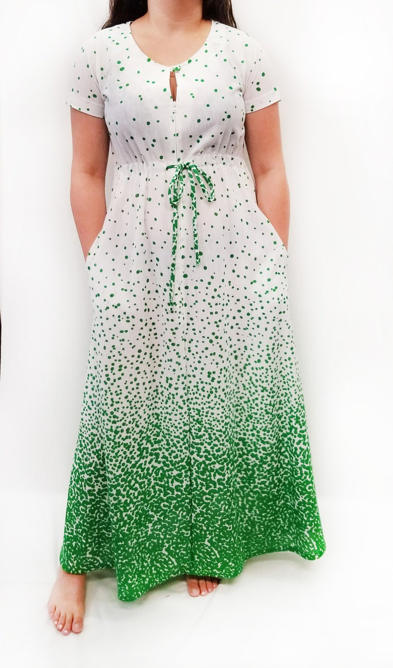 Vintage 1970s JCPenney\u2019s Green and White Polka Dot Maxi Dress