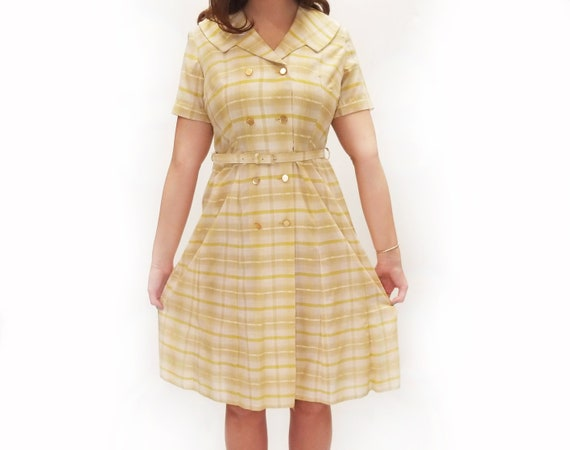 Vintage 1950s Ann Taylor Pale Yellow Plaid Day Dre