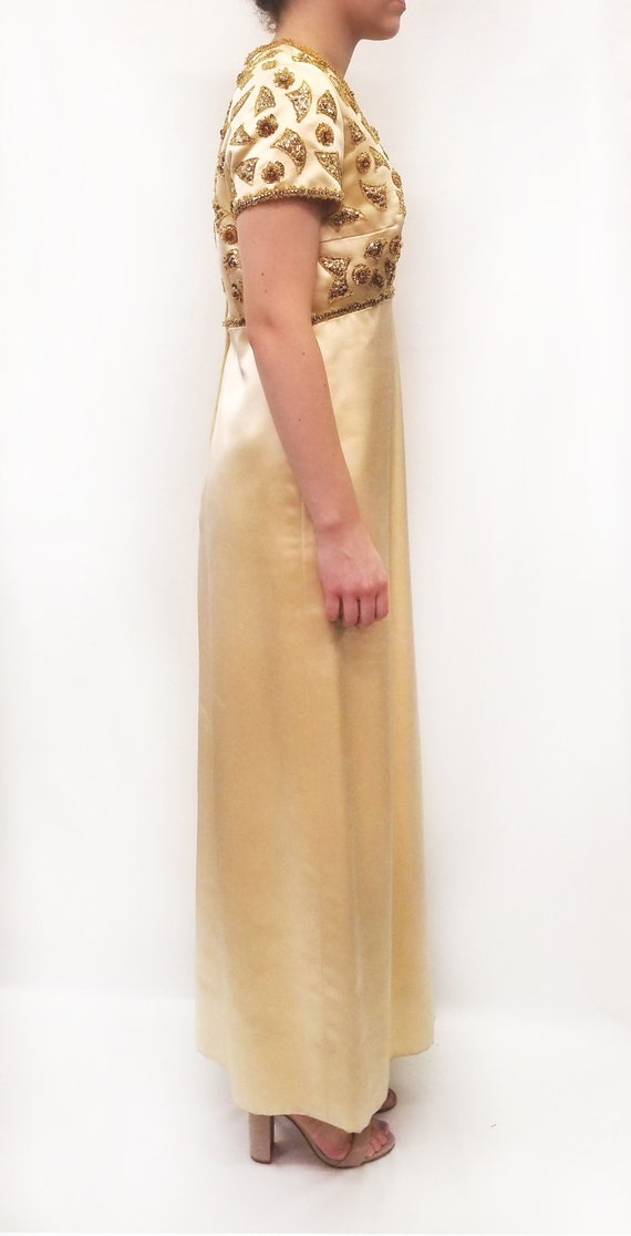 Vintage Amen Wardy Gold Evening Gown with Gold Be… - image 2
