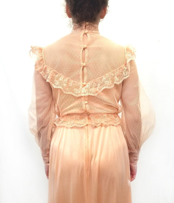 Vintage 1970s Peach Maxi Slip Dress with Sheer La… - image 4