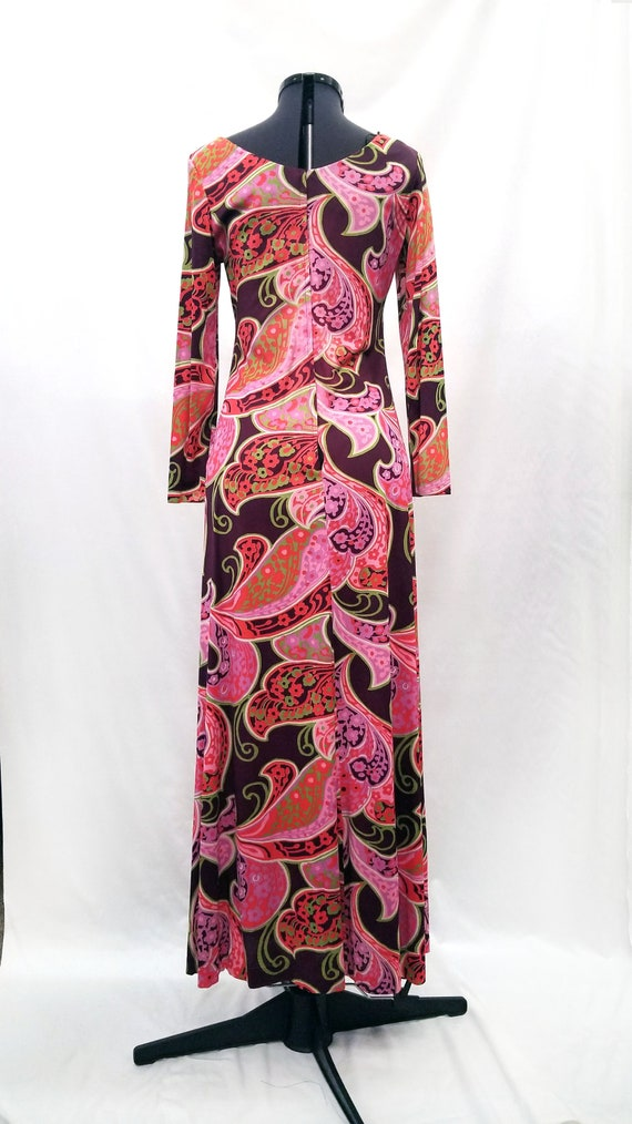 Handmade 1970s Psychedelic Print Maxi Dress - image 3