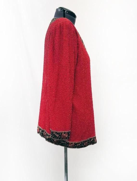 Vintage 1980's Lawrence Kazar Red Silk Beaded Jac… - image 3