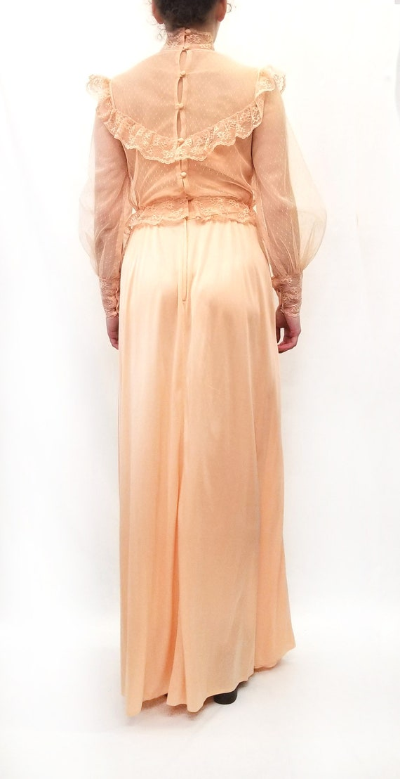 Vintage 1970s Peach Maxi Slip Dress with Sheer La… - image 3