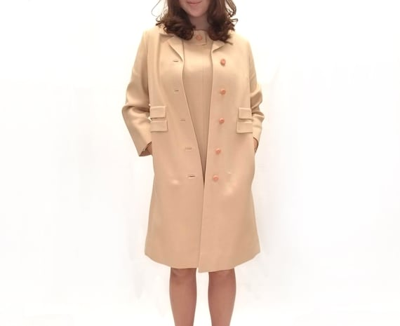 Vintage 1990s Beige Shift Dress with Matching Over