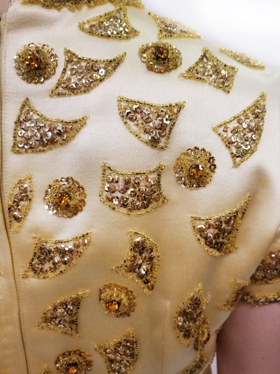 Vintage Amen Wardy Gold Evening Gown with Gold Be… - image 5