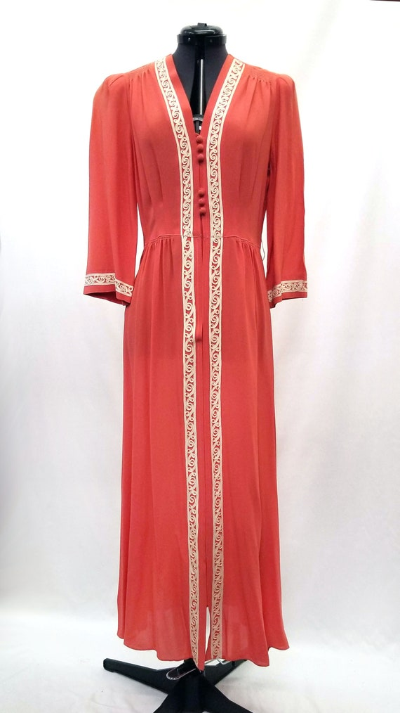 Vintage 1940s Coral Button Up Day Dress