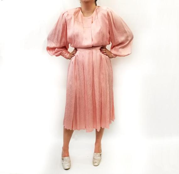 Vintage 1980s Pink Silk Jacquard Day Dress