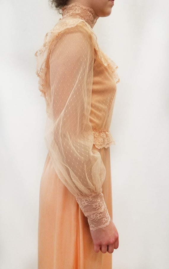 Vintage 1970s Peach Maxi Slip Dress with Sheer La… - image 5
