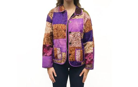 Vintage 1980s Multicolor Patchwork Quilt Jacket