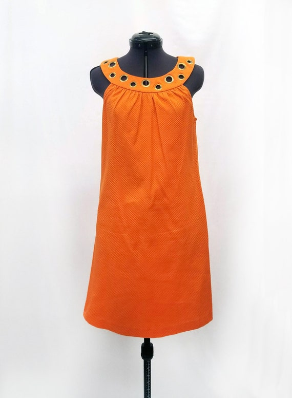 Vintage 1990s Orange Shift Dress with Gold Grommet