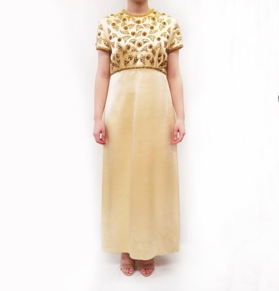 Vintage Amen Wardy Gold Evening Gown with Gold Bea