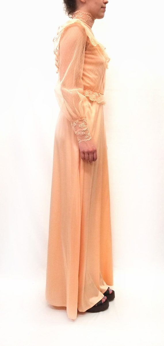 Vintage 1970s Peach Maxi Slip Dress with Sheer La… - image 2