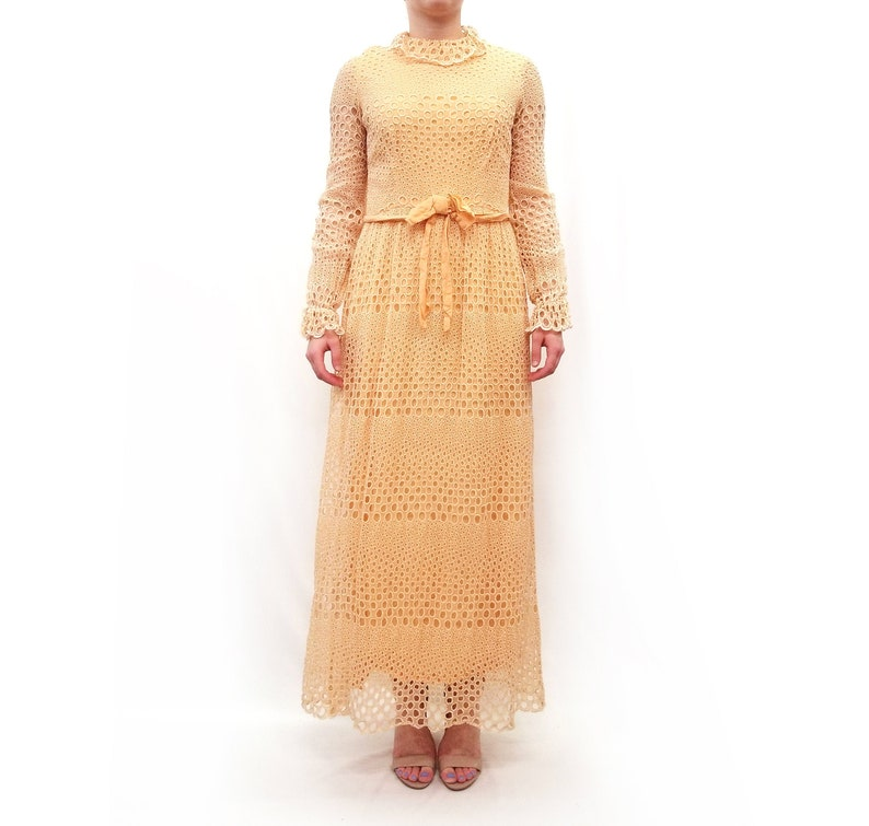 Vintage 1970s Peach Circle Eyelet Maxi Dress with Bow Tie Belt
