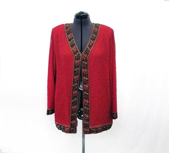 Vintage 1980's Lawrence Kazar Red Silk Beaded Jack