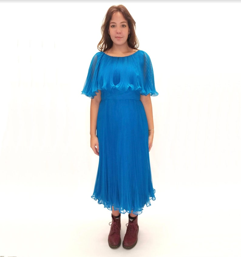 Vintage 1980s Azure Pleated Midi Dress with Ruffle Details
