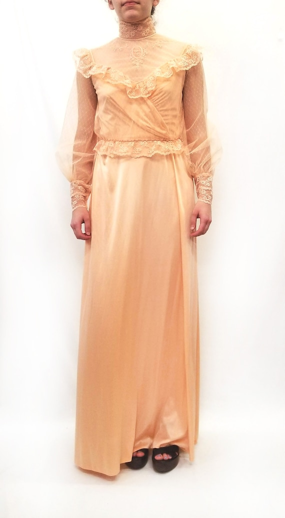 Vintage 1970s Peach Maxi Slip Dress with Sheer La… - image 1
