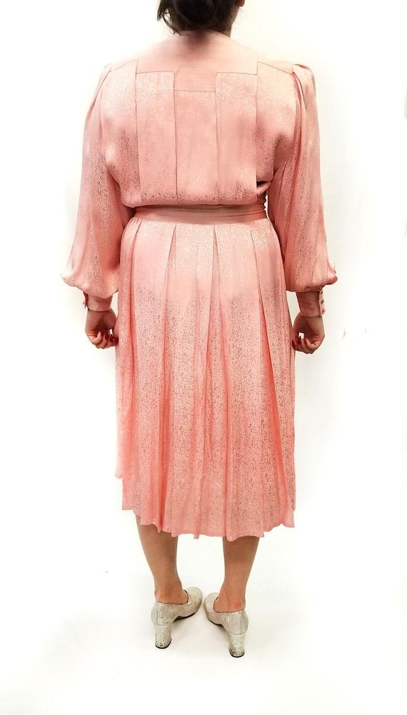 Vintage 1980s Pink Silk Jacquard Day Dress - image 4