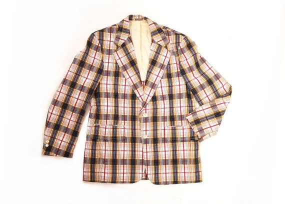 Vintage 1970s Navy, Red, and Mustard Plaid Men's S