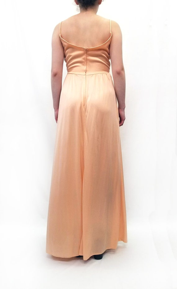 Vintage 1970s Peach Maxi Slip Dress with Sheer La… - image 9
