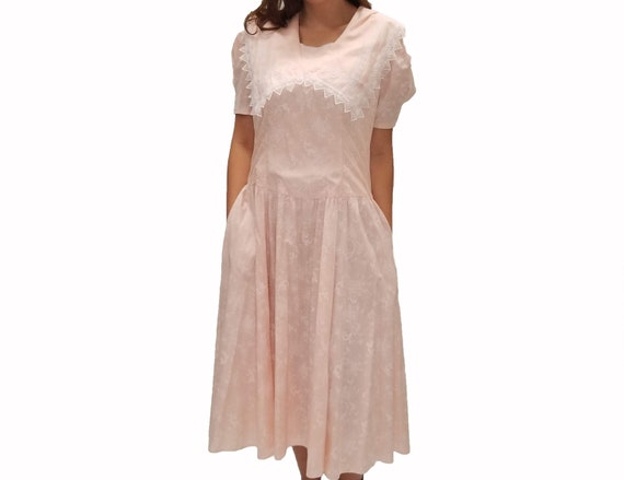 Vintage 1980s Gunne Sax Pale Pink Midi Dress with