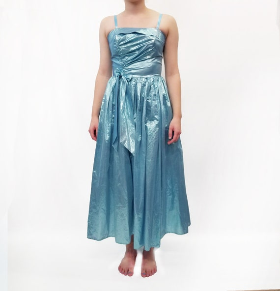 Vintage 1980s Blue Metallic Lamé Prom Dress
