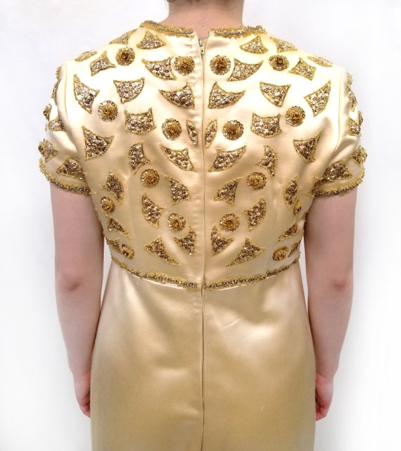 Vintage Amen Wardy Gold Evening Gown with Gold Be… - image 4