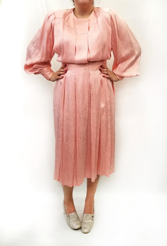 Vintage 1980s Pink Silk Jacquard Day Dress - image 2