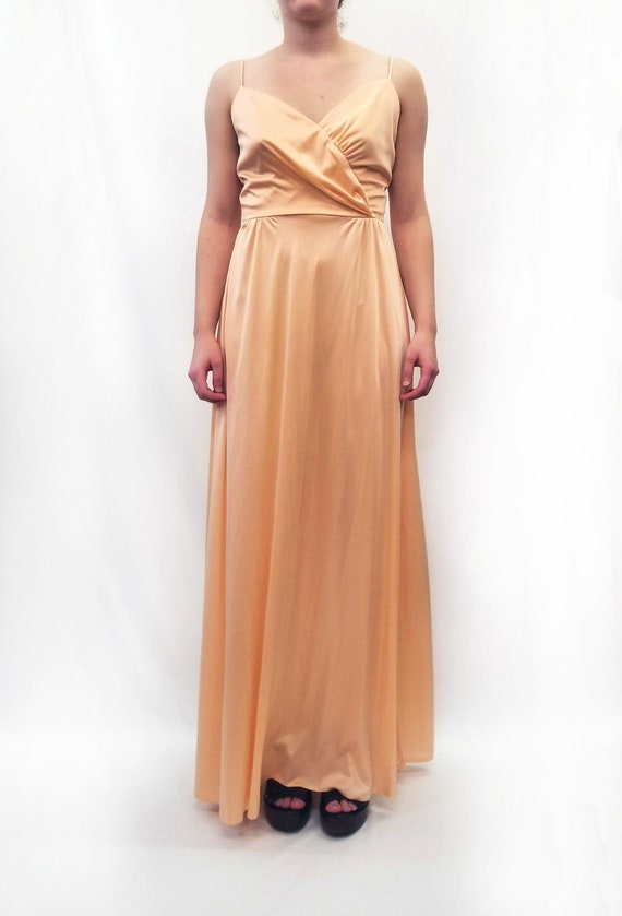 Vintage 1970s Peach Maxi Slip Dress with Sheer La… - image 8