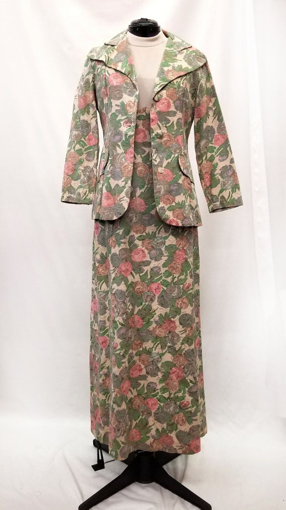 Vintage 1970s 2pc Floral Tapestry Dress and Blazer