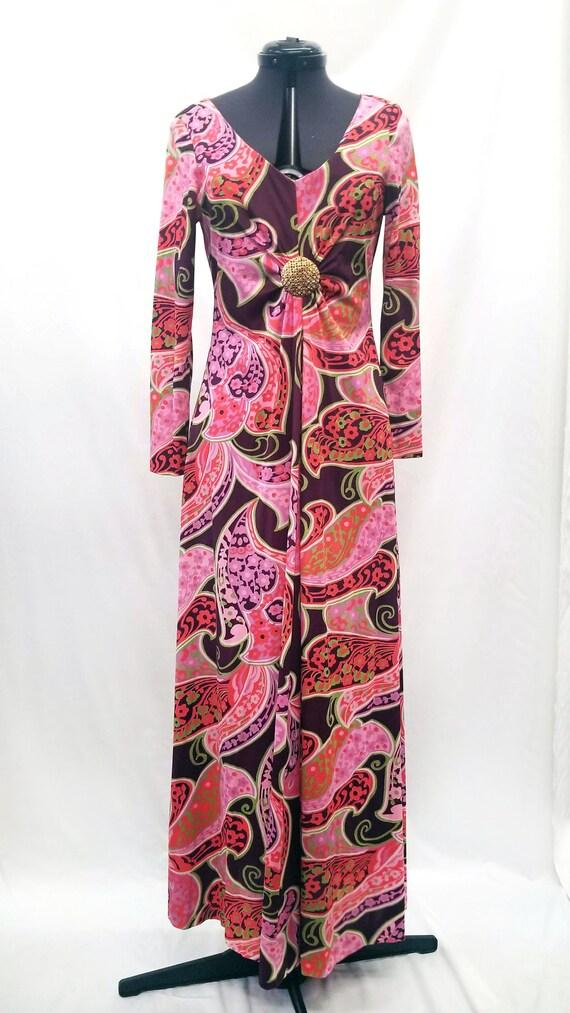Handmade 1970s Psychedelic Print Maxi Dress