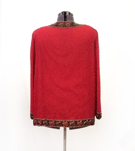 Vintage 1980's Lawrence Kazar Red Silk Beaded Jac… - image 4