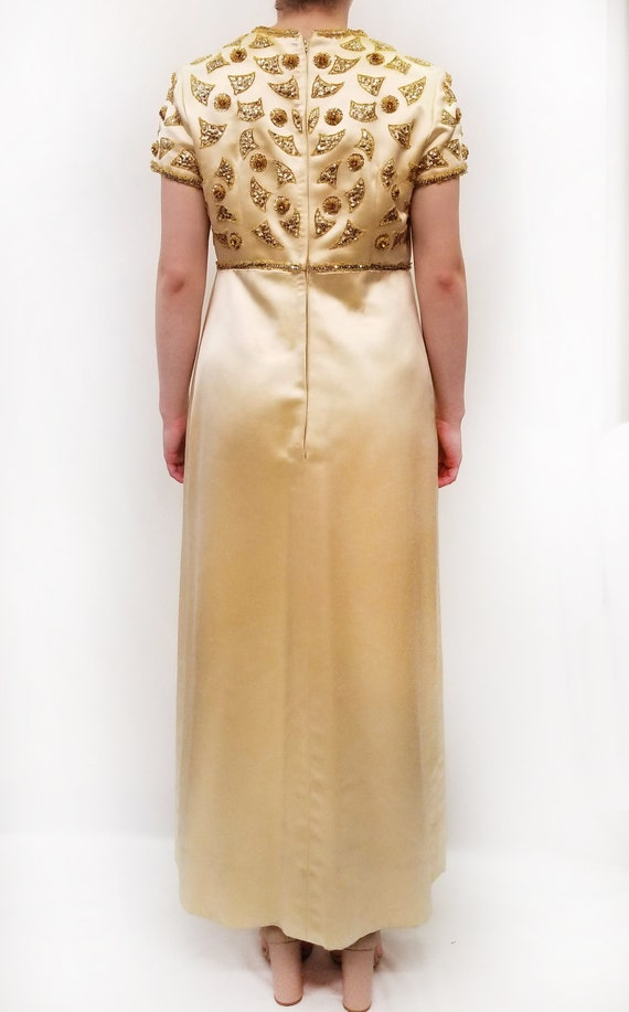 Vintage Amen Wardy Gold Evening Gown with Gold Be… - image 3