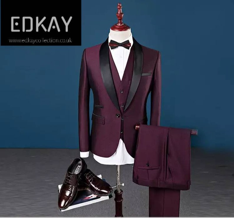 groomsmen/'s suits party suits with waistcoat and blazer tuxedo suits White men/'s 3 piece wedding suits also in navy blue and burgundy
