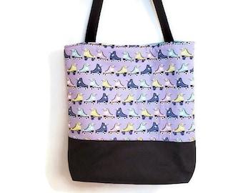 Roller Skates Bag, Large Tote Bag with Pockets,  Cotton Tote Bag, Retro Bag, Everyday Tote, Large Market Bag, Waxed Canvas Bag, Beach Bag