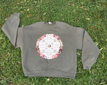 Gray crewneck sweater Cotton Sweatshirt Red Grenades Hand Painted for women