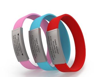 Child Id bracelet, Kids id tags, Autism awareness bracelet, Kids safety id bracelet, Child medical alert bracelet, Allergy bracelet for kids