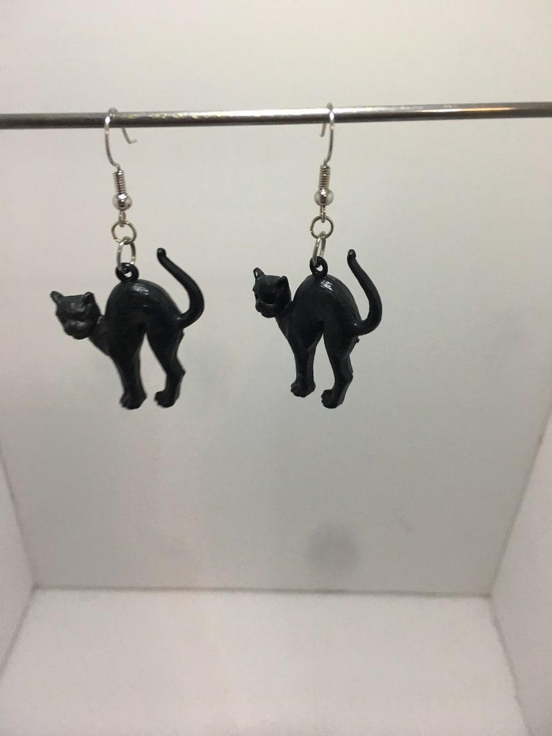 Black Cat Halloween Evil Cat Dangle Earrings Nickel Free