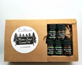 Maine Forest Essential Oils, artisan distilled, wildcrafted, 5 x 2ml bottles