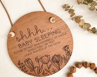 ShhhPlease Knock Softly Do Not Ring Bell Baby Sleeping Door Sign Door Knob Hanger Do not disturb sign primitive wood hand painted grey